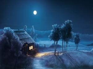Postal: Noche azul con una impactante luna llena