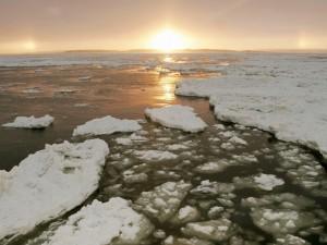 Gruesa capa de hielo en el agua
