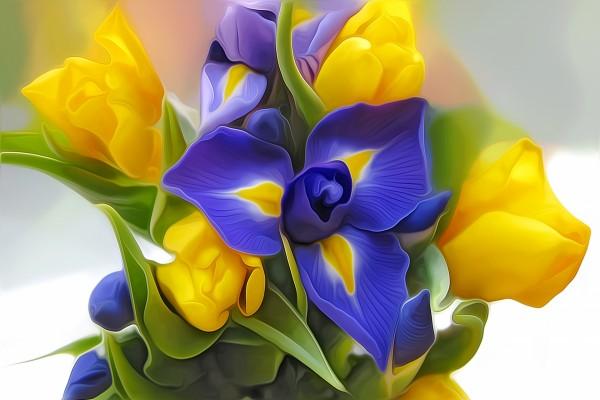 Ramo digital con flores amarillas y azules