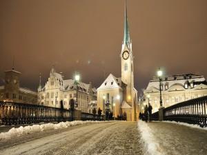 Postal: Noche invernal en Zúrich