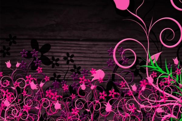 Jardín digital con flores rosas