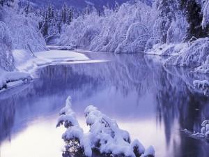 Postal: Orillas del río cubiertas de nieve
