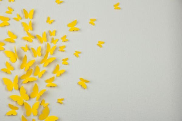 Mariposas amarillas de papel decorando una pared