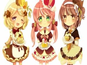 Postal: Niñas anime con ricos pasteles