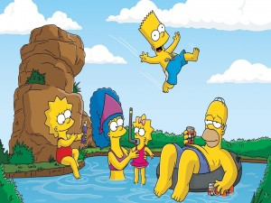 La familia Simpsons jugando en la piscina