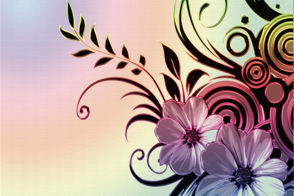 Dibujo abstracto con bonitas flores