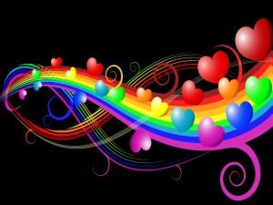 Postal: Corazones flotando en el arcoíris de amor