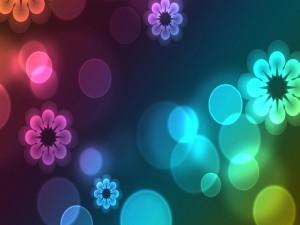 Flores y círculos de colores