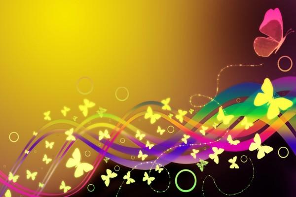 Mariposas y líneas de colores
