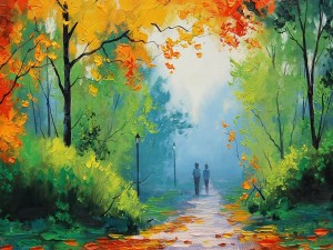 Paseo por el parque en otoño