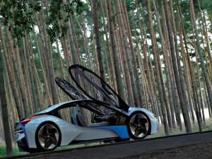 Un espectacular BMW I8 Concept 2014 en un bosque