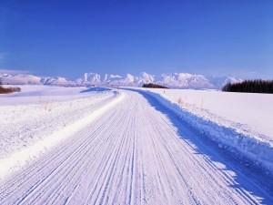 Postal: Carretera cubierta de nieve