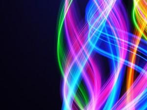 Líneas de brillantes colores en un fondo negro