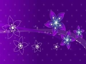 Flores de diversos tamaños en un fondo púrpura