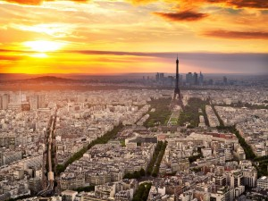 Postal: Vista de París al atardecer