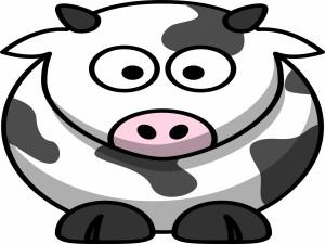 Postal: Una divertida vaca lechera