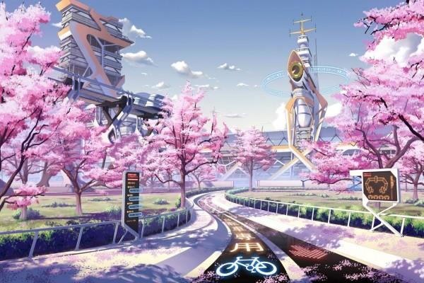 Cerezos en flor y un carril bici futurista en Japón