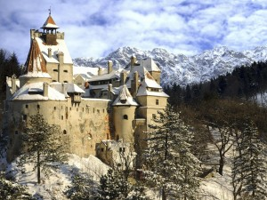 Un antiguo castillo cubierto de nieve