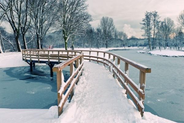Puente de madera en invierno