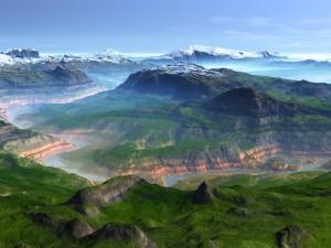 Postal: Río entre montañas