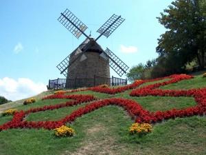 Postal: Precioso jardín junto a un molino de viento