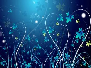 Postal: Largos tallos con florecillas azules y amarillas