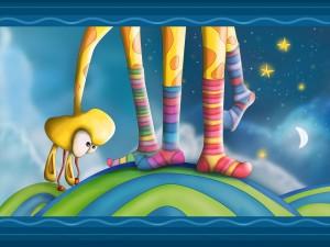 Postal: Una jirafa mirándose los calcetines