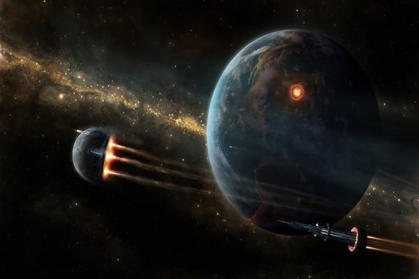 Naves orbitando en el espacio junto a la Tierra