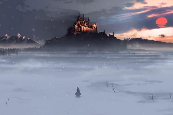 Caminando sobre la nieve hacia el castillo