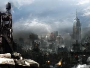 Una gran ciudad destruida