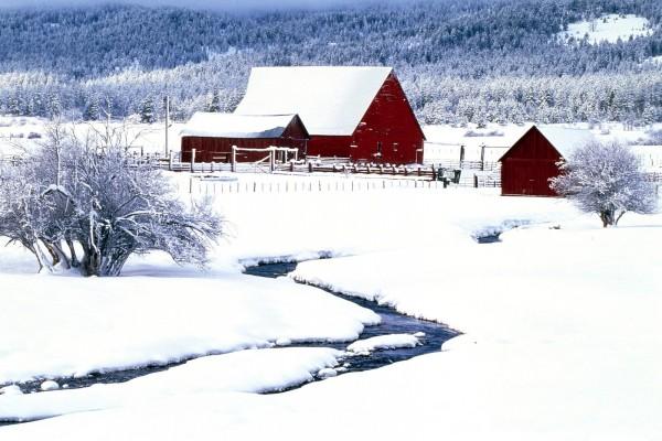 Edificios rojos en un terreno cubierto de nieve