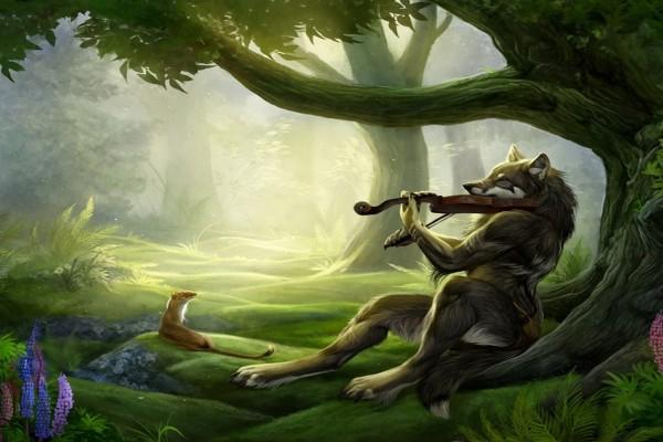 El lobo tocando el violín en el bosque