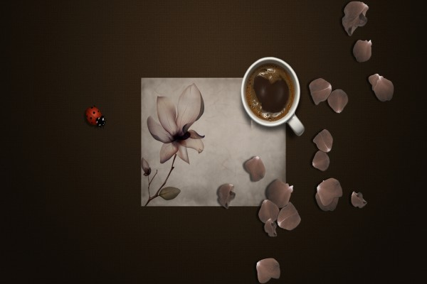 Una mariquita y pétalos de flor junto a una taza de café