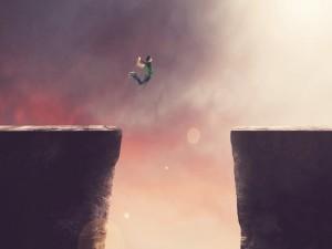 Postal: Gran salto entre dos rocas