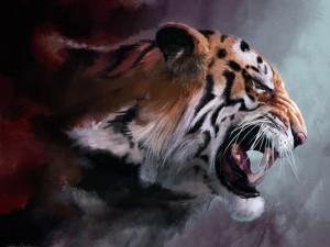 Postal: Pintura de un tigre enfurecido