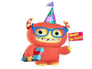 Postal: Monstruito festejando un cumpleaños