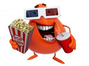 Divertido y sonriente personaje en 3D comiendo palomitas de maíz