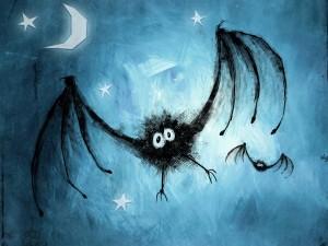 Postal: Murciélagos junto a la luna y las estrellas