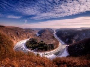 Postal: Meandro del Sarre en invierno