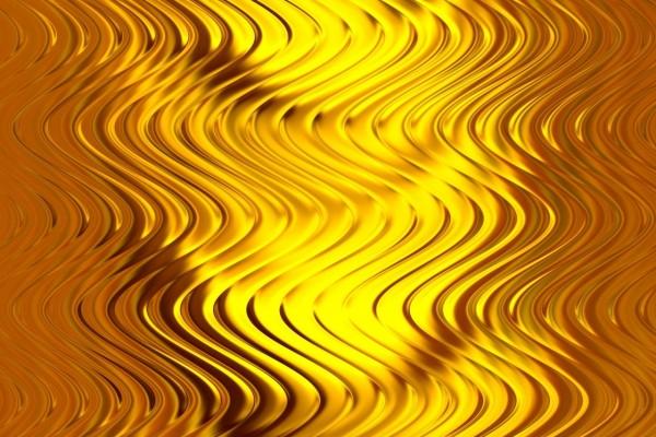 Placa de metal con curvas doradas