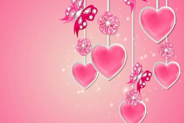 Un brillante adorno con corazones, mariposas y flores