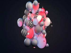 Postal: Esferas 3D variadas