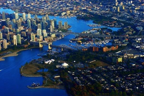 Vista aérea de Vancouver, Canadá