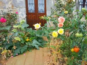 Flores y tomates junto a la puerta