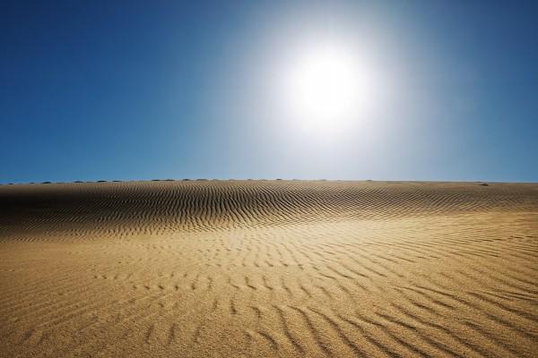 El sol brillando en el desierto