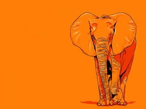 Postal: Un elefante naranja