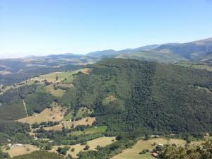 Vista de un gran monte verde