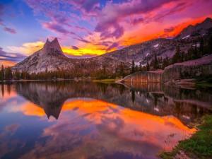 Postal: Nubes, montañas y árboles reflejados en el agua del lago