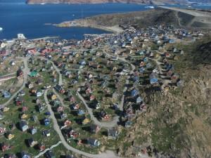 Vista aérea de Upernavik (Groenlandia)