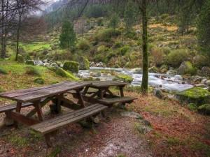 Postal: Mesas y bancos junto a un río en un bello entorno natural